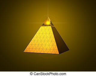 conceptual pyramid design with light beam eye on top. golden...