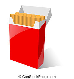 illustration of red cigarette pack isolated on white