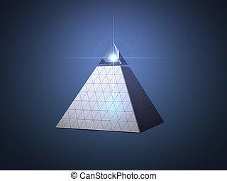 Conceitual, piramide, desenho, com, luz, viga, olho, ligado,...