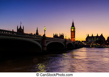 Westminster bridge at Sunset, Westminster , London
