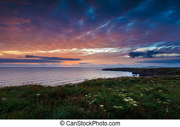 Bedruthan steps - Sunset at Bedruthan steps, cornwall, on...