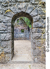 Abandoned Stone House Archway - Abandoned stone castle house...