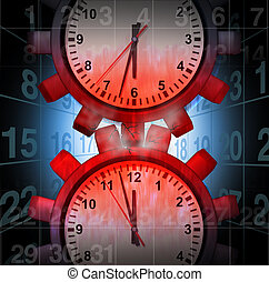 Work Schedule Stress concept as clocks shaped as gears...