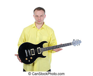 young man with a guitar Isolated on white background