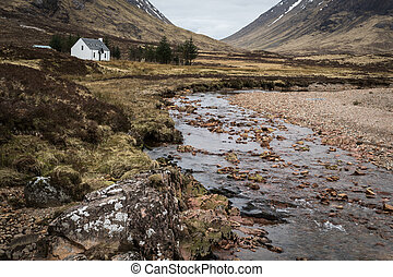 Glencoe - White Cottage in Glencoe Scotland, UK