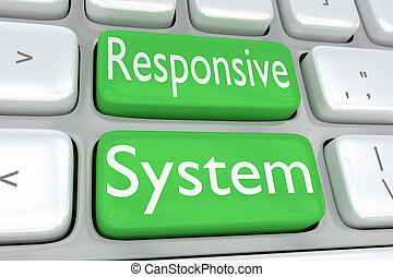 Responsive System concept - 3D illustration of computer...