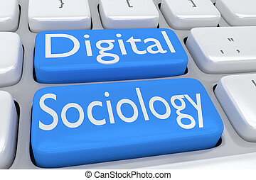 Digital Sociology concept - 3D illustration of computer...