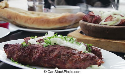 Kebab and Khachapuri in Georgian Cuisine Restaurant Georgian...