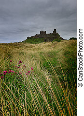 Bamburgh Castle on the Northumberland coast