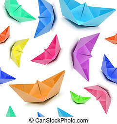 Seamless pattern with colored boats, origami boats, seamless...