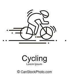 Sport bike and rider icon thin line vector illustation