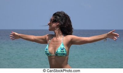 Freedom Lifestyle Of Woman In Bikini With Outstretched Arms