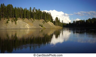 Calm Yellowstone River High Cloud Reflection National Park -...