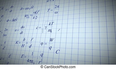 Physic math formulas writing - Formulas written by blue pen...