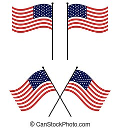 flag USA American flags flag USA waving set vector -...