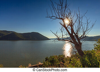Danube river and mountains - Landscape with the Danube river...
