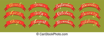 Set red labels with hand-drawn lettering on green background, months names of year