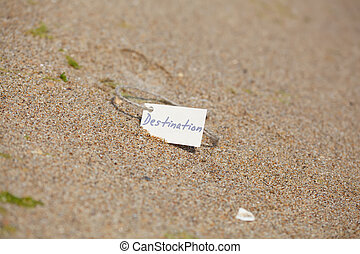 Destination Label at the Beach, Nautical Background