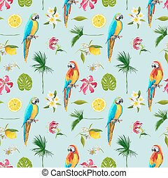 Tropical Background. Toucan Bird. Cactus Background. Tropical Flowers. Seamless Pattern. Vector
