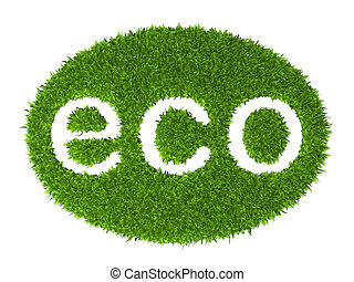 Eco sign oval stamp from green grass