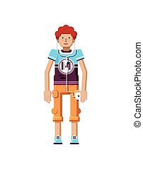 illustration isolated of European redhead man with freckles...