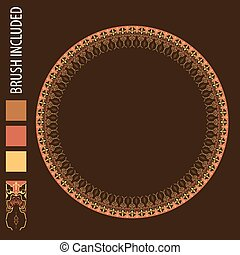 Circle islamic ornamental and floral round decorative frame.