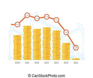 Piles of coins with chart graph. Vector concept for financial markets. World stock exchange