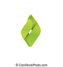 Abstract green leaves logo vector, eco concept logotype energy brand