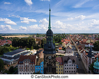 Agnes Church Altenburg Germany aerial view medieval