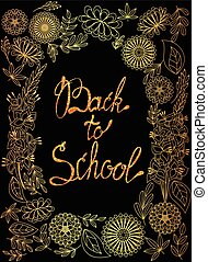 Back to school background golden with tinsels - Vector back...