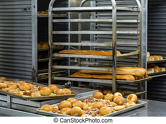 Bread and Pastries in Commercial Kitchen - Fresh baked bread...