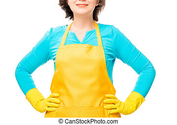 portrait of a housewife in the protective clothing of yellow...