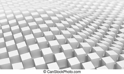 Checkered surface of white cubes waving. Loopable 3D...