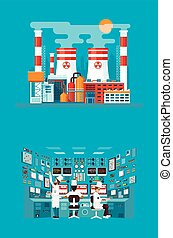 illustration of facade architecture nuclear power plant in...