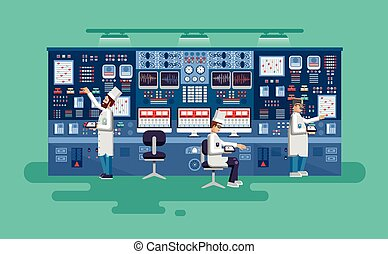 illustration interior science base, nuclear power plant in...