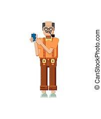 illustration isolated European elderly retiree - Stock...