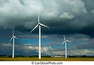 Clouded Wind Power - Photo of wind power stations taken in...