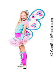 Nice little blond girl wearing butterfly costume Isolated on...