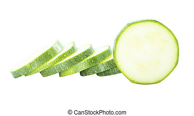 Flesh zuchini vegetable cross slice on white background