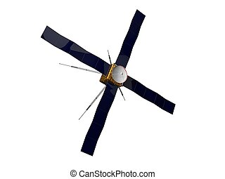 3d illustration of satellite with four solar panels.