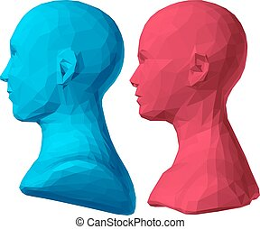 polygonal bust of male and female