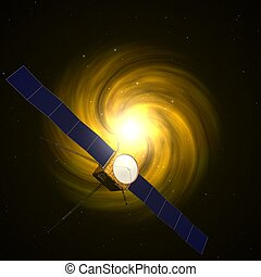 3d illustration of satellite with two solar panels.