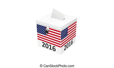 3d illustration of simple vote box with america flag.