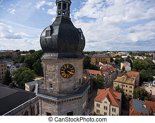 Bartholomew church Altenburg medieval town aerial view...