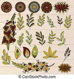 Set of colorful autumn leaves and flowers on wooden...