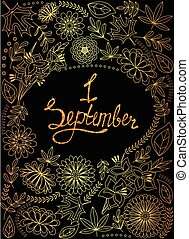 First September background golden with tinsels - Vector...