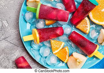 sangría, Chupetes helado, con, frutas