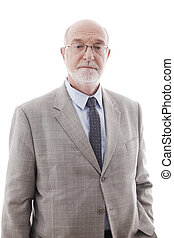 Portrait of mature business man isolated on white background