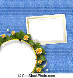 Beautiful greeting card with a bouquet of yellow roses