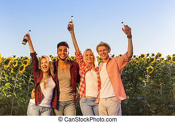 People drinking beer bottles group friends outdoor...